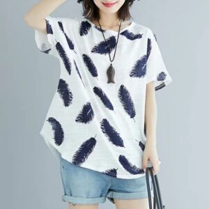 Plus Size White Feather Printed Round Neck T-shirt by Attire Nepal (BST-61)