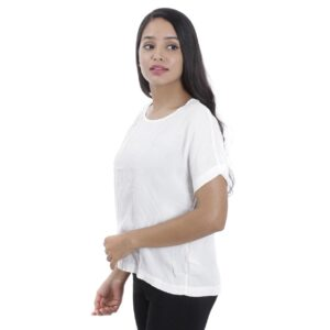 Opus White Round Necked Oversize T-shirt by Attire Nepal (BST-15-WH)