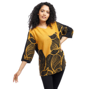 Plus Size Abstract Printed Quarter Sleeved Top by Attire Nepal (BST-49)