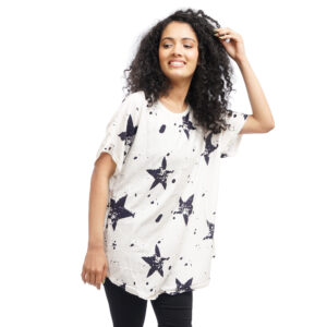 Plus Size Star Printed T-shirt by Attire Nepal (BST-59)