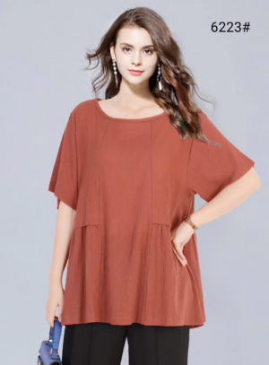 Plus Size Solid Half Sleeve Cotton Top by Attire Nepal (BST-24)