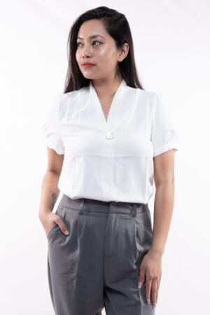 Women's Classic Without Button V Neck Half Sleeved Shirt By Attire Nepal