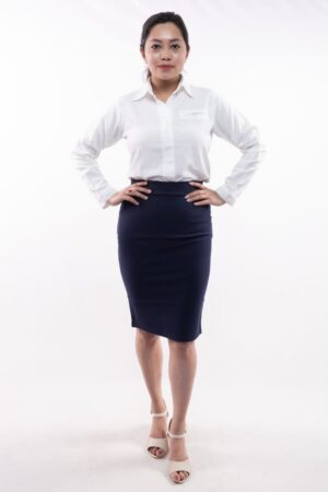Women's Knee Length Solid Blue Pencil Skirt by Attire Nepal