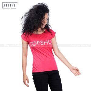 Women's Solid Pink Text Printed Half Sleeve Summer T-Shirt By Attire Nepal